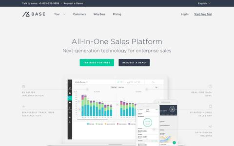 Screenshot of Home Page getbase.com - Intelligent CRM Software for Sales | Base CRM - captured April 20, 2016