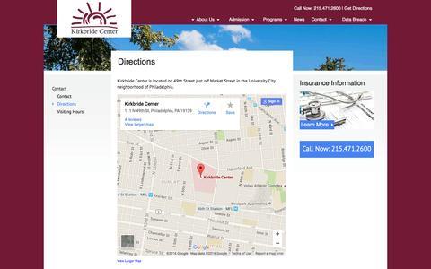 Screenshot of Maps & Directions Page kirkbridecenter.com captured Jan. 9, 2016