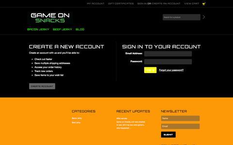 Screenshot of Login Page mybigcommerce.com - Game On Snacks - Sign in - captured Sept. 18, 2014