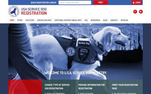 Screenshot of Home Page usaservicedogregistration.com - Service Dog Registration & Emotional Support Animal Registration Service - captured July 9, 2018