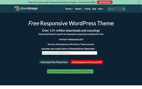 Screenshot of Home Page cyberchimps.com - Responsive WordPress Theme | Free Responsive Themes for WordPress - captured July 28, 2016