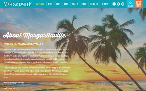 Screenshot of About Page margaritaville.com - Margaritaville | About Us - captured Jan. 26, 2017