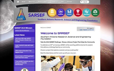 Screenshot of Home Page sarsef.org - Welcome » SARSEF - captured Oct. 3, 2014