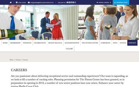Screenshot of Jobs Page phylliscourt.co.uk - Vacancies at Phyllis Court Club - captured July 18, 2018