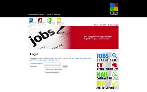 Screenshot of Login Page eyespyrecruitment.com - EyeSpy Recruitment | Jobs | Careers | Advice - captured Sept. 30, 2014
