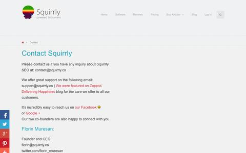 Screenshot of Contact Page squirrly.co - Contact - Squirrly - captured Sept. 11, 2014