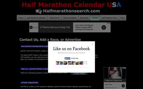 Screenshot of Contact Page halfmarathonsearch.com - Half Marathon Calendar Contact - captured July 13, 2017