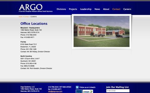 Screenshot of Locations Page argo-sys.com - Locations - captured Nov. 2, 2014