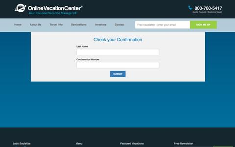Screenshot of Login Page onlinevacationcenter.com - Online Vacation Center | Check your Itinerary - captured Nov. 23, 2015