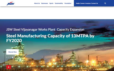Screenshot of Home Page jsw.in - JSW Group - Amongst India's largest conglomerates - captured Sept. 20, 2018
