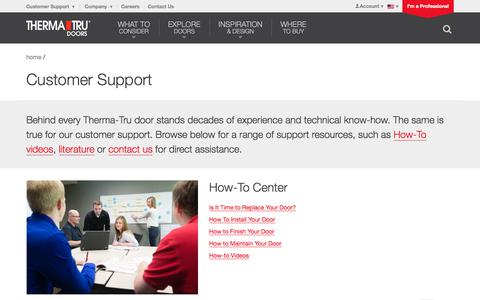 Screenshot of Support Page thermatru.com - Customer Support | Therma-Tru Doors | Therma-Tru Doors - captured Sept. 12, 2018