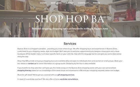 Screenshot of Services Page shop-buenosaires.com - Services — Shop Hop BA - captured April 6, 2016