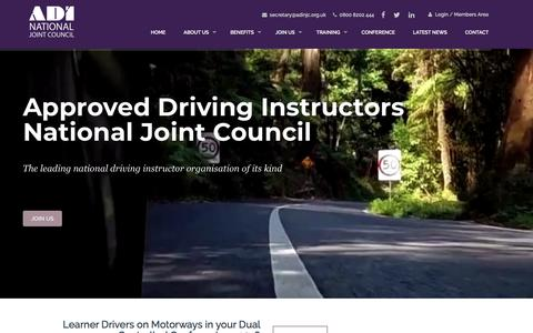 Screenshot of Home Page adinjc.org.uk - Driving Instructors Organisation | Driving Instructors Association - captured July 28, 2018