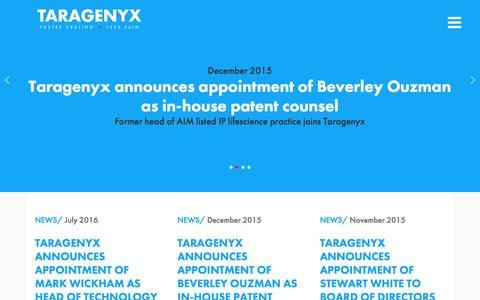 Screenshot of Press Page taragenyx.com - Taragenyx :: Latest News - captured May 10, 2017