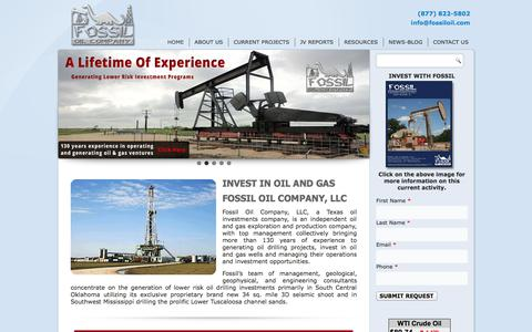 Screenshot of Home Page fossiloil.com - Invest In Oil And Gas   Fossil Oil Company - captured Oct. 6, 2014