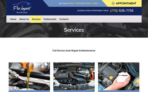 Screenshot of Services Page proimportservice.com - Services - Pro Import Services - captured Dec. 16, 2018