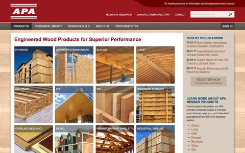 Screenshot of Products Page apawood.org - Products - APA – The Engineered Wood Association - captured Oct. 7, 2017