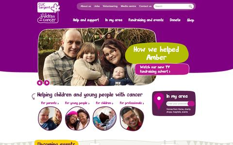 Screenshot of Home Page clicsargent.org.uk - CLIC Sargent | For children and young people with cancer - captured Jan. 15, 2015