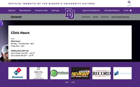 Screenshot of Hours Page gaiters.ca - Official Website Of The Bishop's University Gaiters - captured July 3, 2018