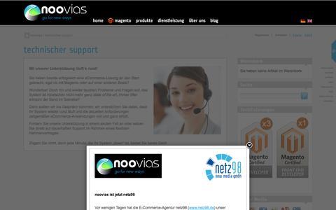 Screenshot of Support Page noovias.com - Support - Sie benötigen Hilfe bei einem Problem? - captured Oct. 26, 2014