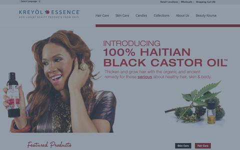 Screenshot of Home Page kreyolessence.com - Kreyol Essence - captured Oct. 6, 2014