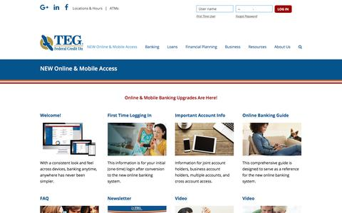 Screenshot of tegfcu.com - NEW Online & Mobile Access – TEG Federal Credit Union - captured Dec. 2, 2017