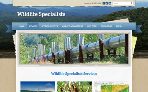 Screenshot of Services Page wildlife-specialists.com - services - Wildlife Specialists - captured Sept. 20, 2018