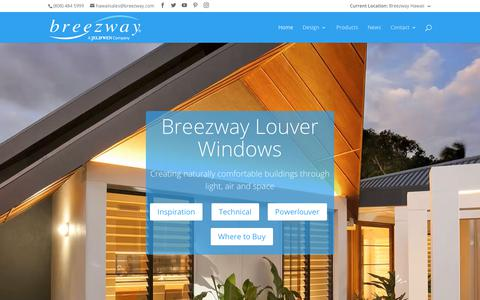 Screenshot of Home Page breezway.com - Breezway Louver Windows - North America (Hawaii) - captured Oct. 6, 2018