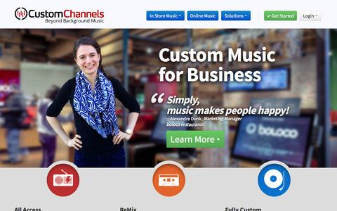 Screenshot of Home Page customchannels.net - Custom Channels » Internet Music Service for Business - captured Sept. 25, 2014