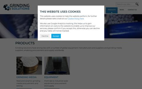 Screenshot of Products Page grindingsolutions.com - Products - Grinding Solutions Ltd - captured Sept. 30, 2018