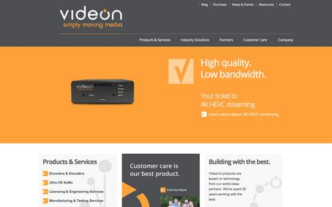 Screenshot of Home Page videon-central.com - Videon Central -- Media Solutions - captured July 13, 2018