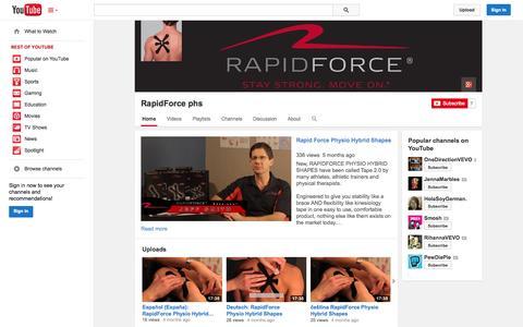 Screenshot of YouTube Page youtube.com - RapidForce phs  - YouTube - captured Oct. 26, 2014