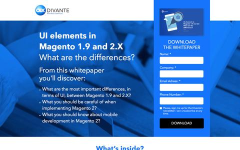Screenshot of Landing Page divante.co - UI elements in   Magento 1.9 and 2.X - captured Sept. 23, 2017