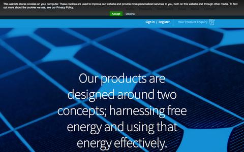 Screenshot of Products Page sunsolarenergy.co.uk - Products - British manufacturer of photovoltaic (PV) Solar panels and LED lighting - captured Oct. 7, 2014