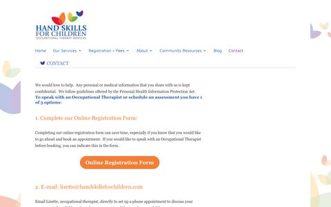 Screenshot of Contact Page handskillsforchildren.com - Hand Skills for Children Occupational Therapy Services, Toronto, ON | Contact Us - captured Nov. 4, 2018