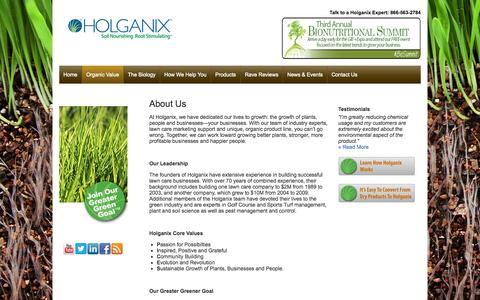 Screenshot of About Page holganix.com - Holganix - Information about the Holganix company and leadership team - captured Sept. 16, 2014