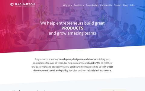 Screenshot of Home Page ragnarson.com - Ragnarson - Ruby on Rails, JavaScript and DevOps teams for hire - captured June 11, 2017