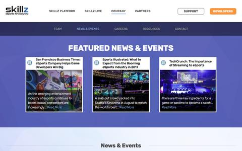 Screenshot of Press Page skillz.com - News & Events - Skillz - captured March 15, 2017