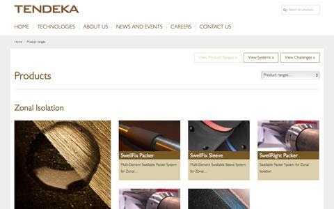 Screenshot of Products Page tendeka.com - Product ranges – Tendeka - captured Oct. 26, 2014
