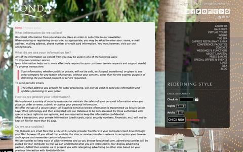 Screenshot of Privacy Page londahotel.com - Privacy policy: Londa Beach Hotel Limassol: Cyprus - captured Dec. 13, 2015