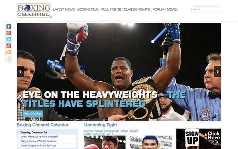 Screenshot of Home Page boxingchannel.tv - Boxing News. Watch Boxing Videos at BoxingChannel.tv - captured Dec. 24, 2015