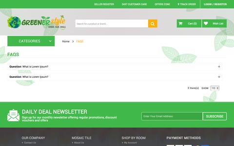 Screenshot of FAQ Page greenerstyle.co.uk - Greener Style - captured July 19, 2016
