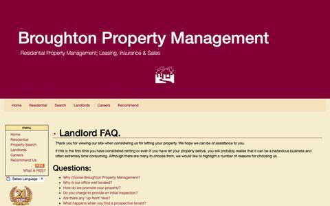 Screenshot of FAQ Page broughtonproperty.co.uk - FAQ - Broughton Property Management - captured Oct. 6, 2018