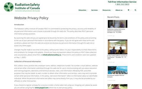 Screenshot of Privacy Page radiationsafety.ca - Website Privacy Policy - Radiation Safety Institute of Canada - captured Oct. 18, 2018
