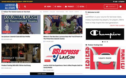 Screenshot of Home Page laxallstars.com - LaxAllStars • Lacrosse media by players, for players • Grow The Game® - captured Jan. 16, 2020