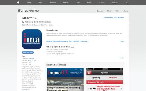 Screenshot of iOS App Page apple.com - IMPACT '14 on the App Store on iTunes - captured Oct. 24, 2014