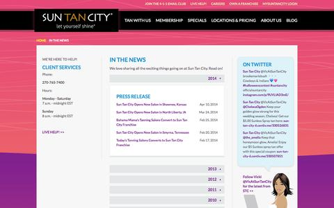 Screenshot of Press Page suntancity.com - Sun Tan City in News Articles and Press Releases - captured Oct. 26, 2015