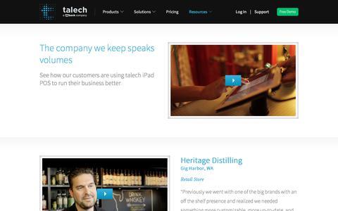 Screenshot of Testimonials Page talech.com - (1) New Message! - captured Jan. 17, 2020