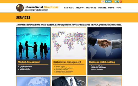 Screenshot of Services Page international-directions.com - International Directions | Global Expansion | Global Business - captured June 8, 2017