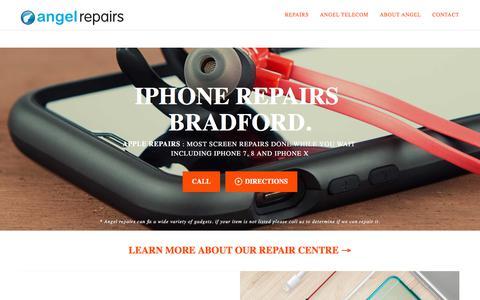 Screenshot of Home Page angel-telecom.co.uk - Bradford iPhone Repair | Angel Repairs - captured July 29, 2018
